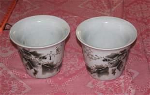 Antique Chinese Republic Period Pair of Plant Pots