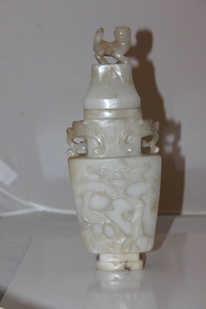 Chinese White Jade Censor / Vase / Urn