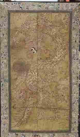 Antique Chinese 19th Century Golden Dragon Textile