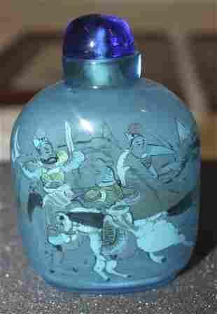 Antique / Vintage Chinese Blue Tinted Peking Glass