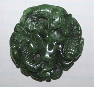 Chinese Carved Jade or Jadeite Disc or Pendant