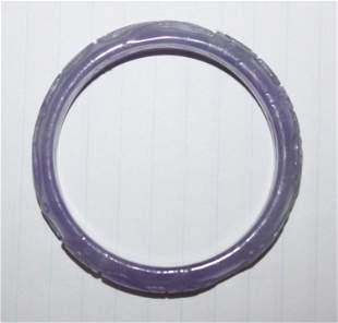 Carved Jadeite Lavander Bangle Bracelet