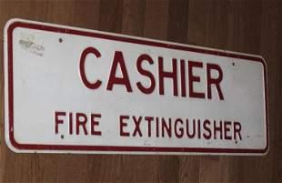 Vintage / Antique Porcelain Cashier Sign
