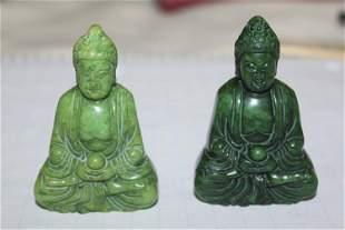 Pair of Jadeite Kwan Yin