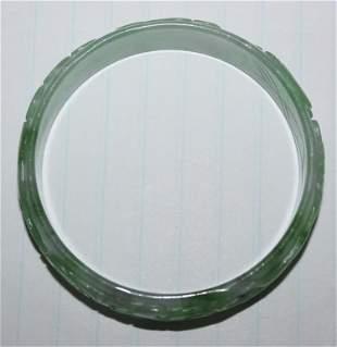 Carved Green Jadeite Bangle Bracelet