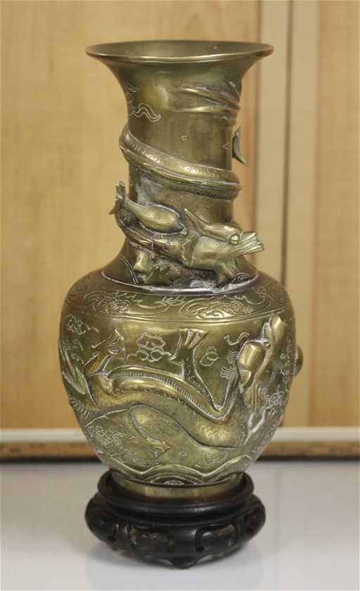 Antique Vintage Chinese Bronze Brass Dragon Vase