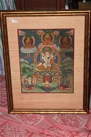 Antique Tibetan Framed Thanka