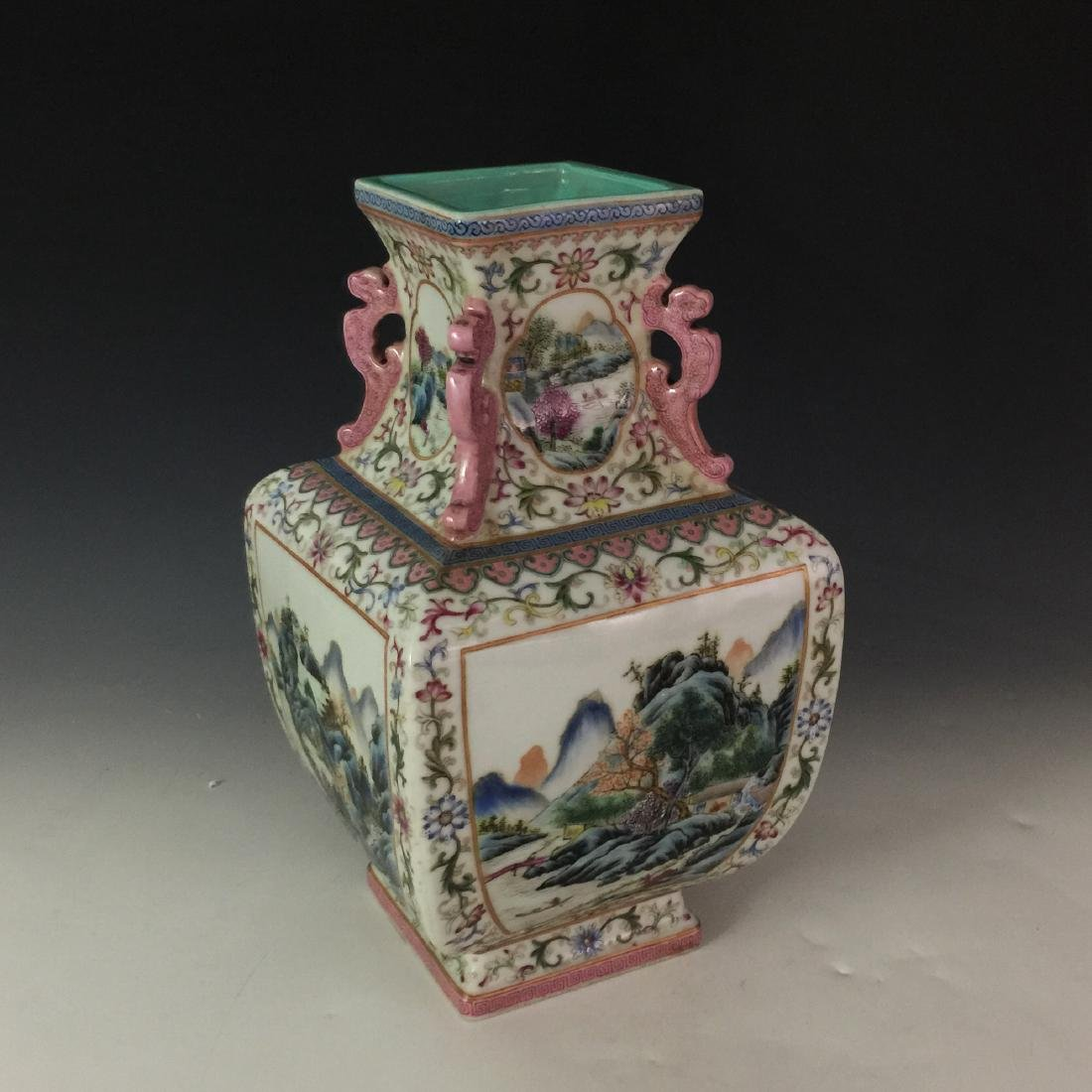 19 Th C Chinese Famile Rose Square Vase