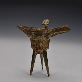 Chinese Antique Bronze Jue Vessel