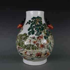 Chinese Deer Head Vase