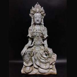 Song Dynasty YingQing Glazed GuangYin Statue