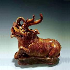 Chinese Tan Dynasty Amber Glazed QinLing Statue