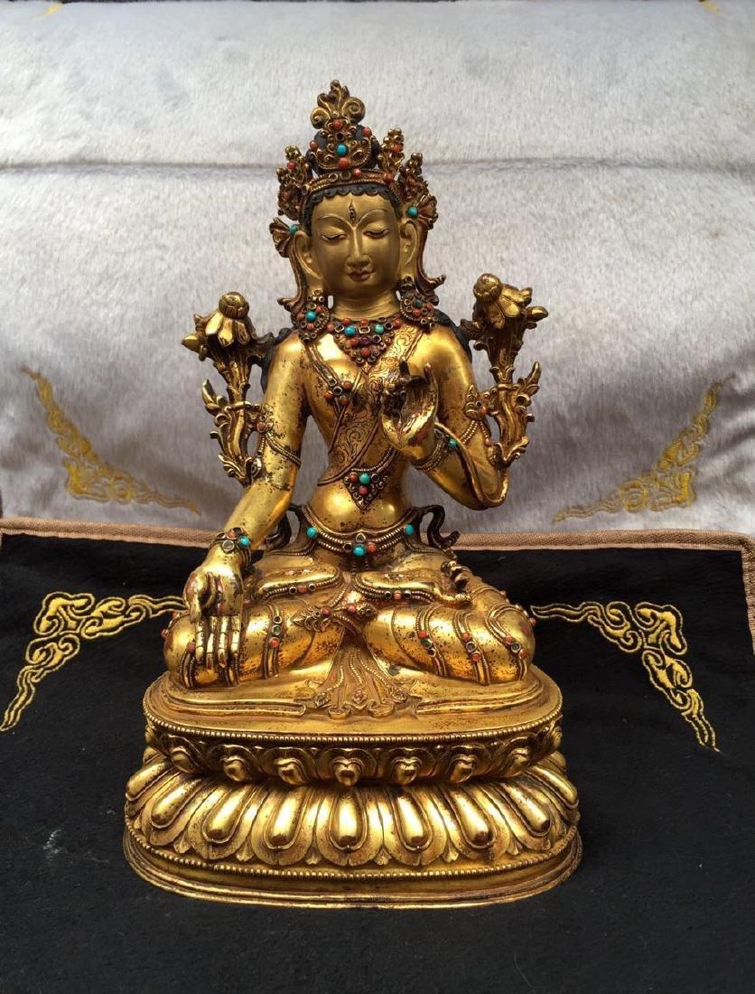 Antique Gilt Bronze Buddhism Buddha Statue