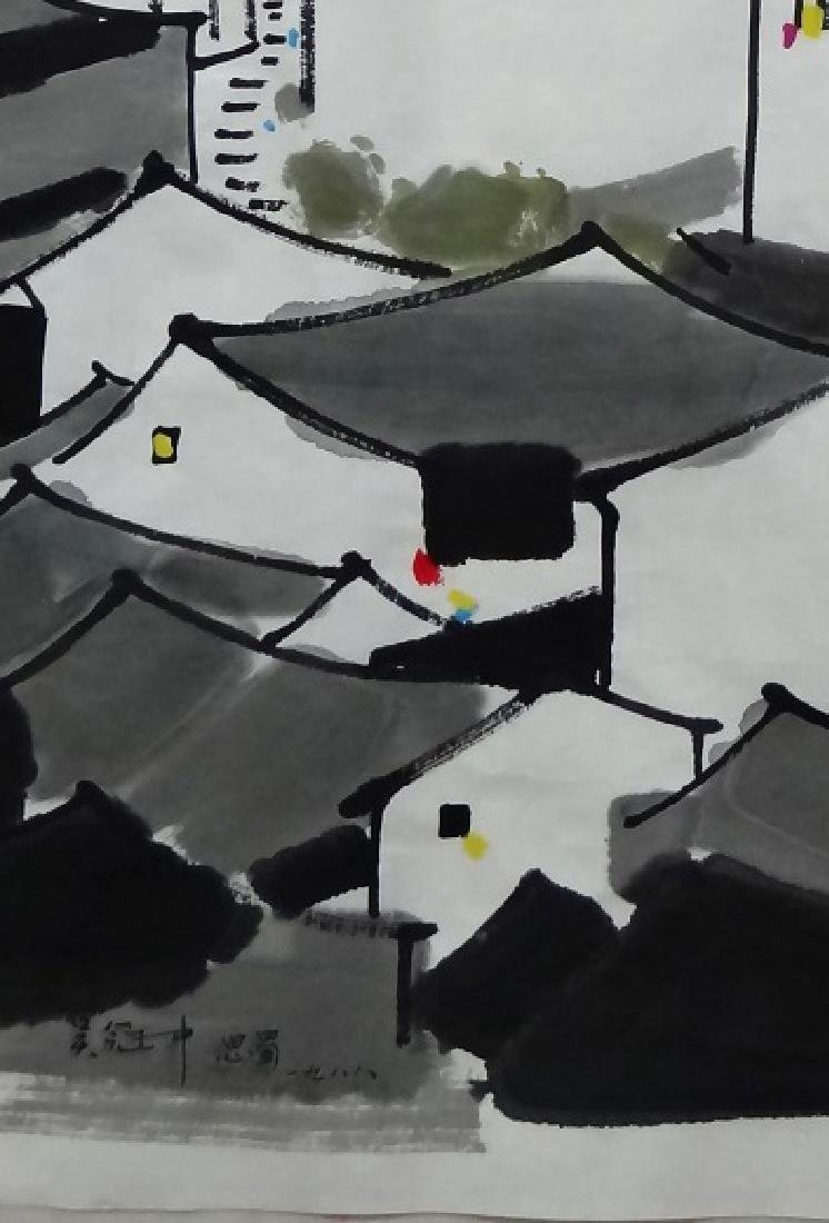 Chinese Painting of Landscape, Signed Wu Guan Zhong - 2