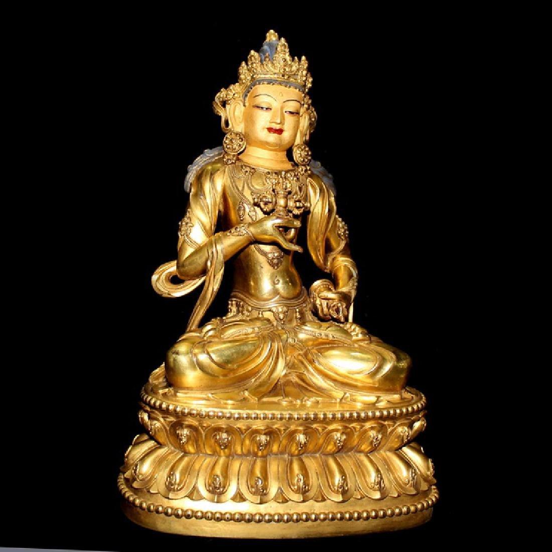 Ming Dynasty Gilt Bronze Tibetan Buddha Statue