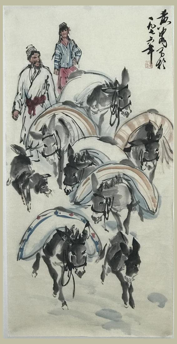 Chinese Painting of  Donkey and Camel Signed Huang Zhou