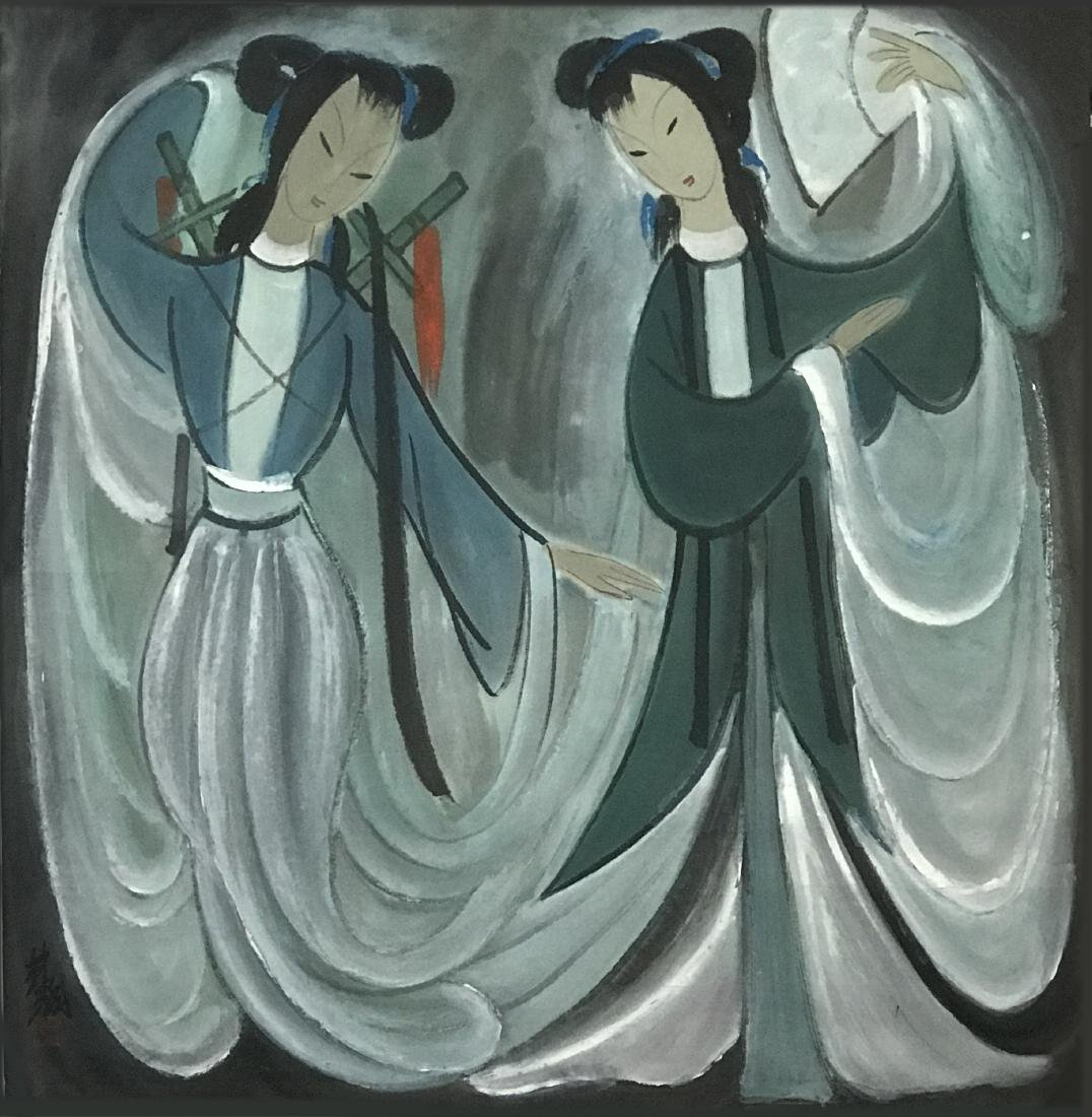 Lin Fengmian (1900-1991), Three Lady Figures