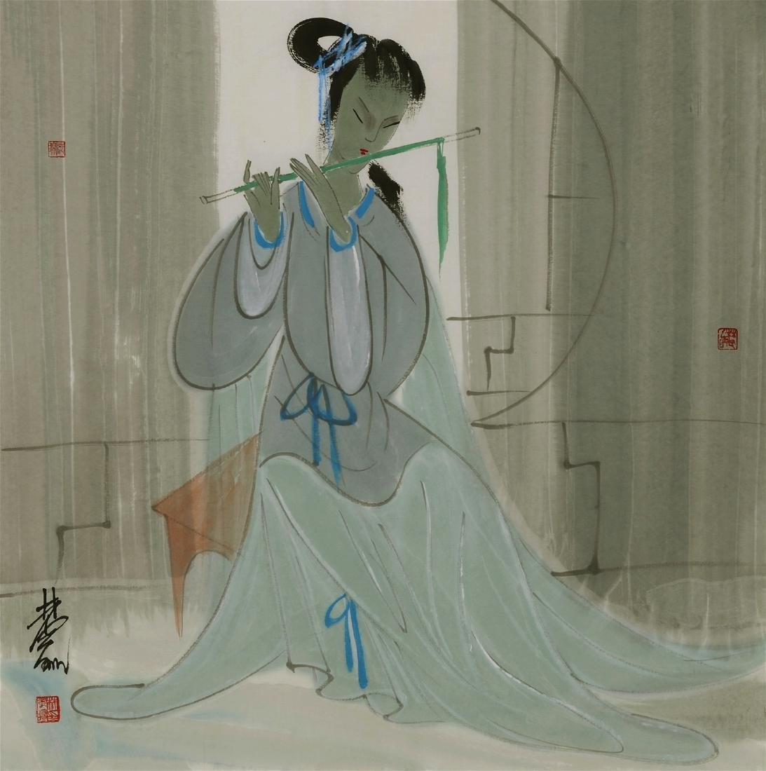 Chinese painting of Lady Figure , Lin Fengmian