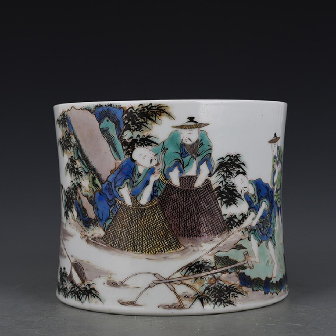 Chinese Wu Cai Brush Pot