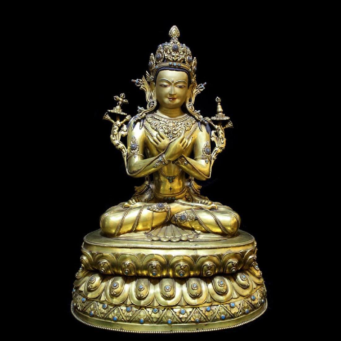 Chinese Tibetan  Antique Gilt Buddha