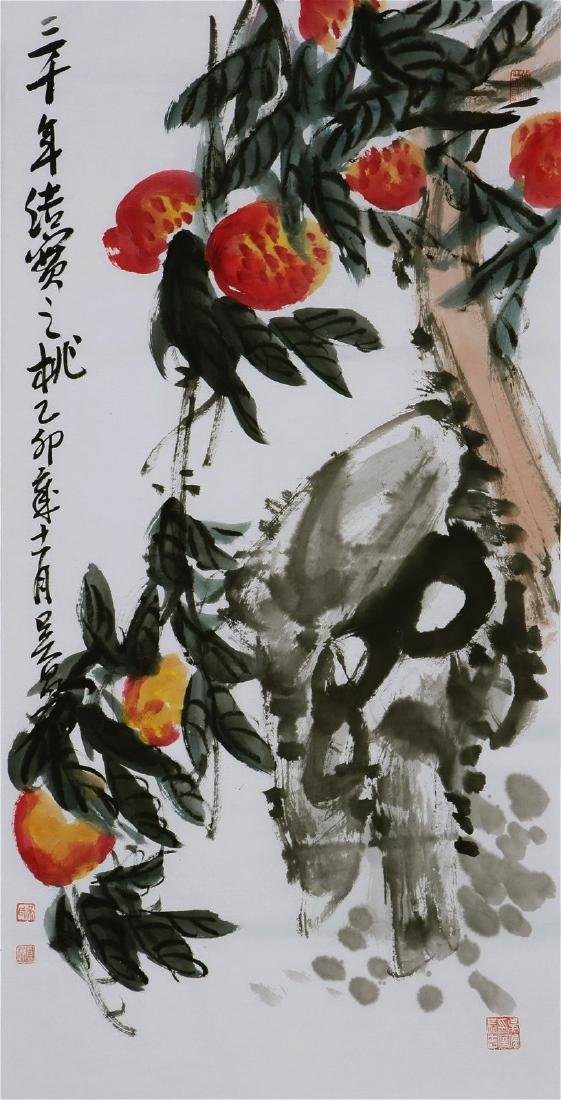 Chinese Painting of Flower and Bird, Signed Wu Chang