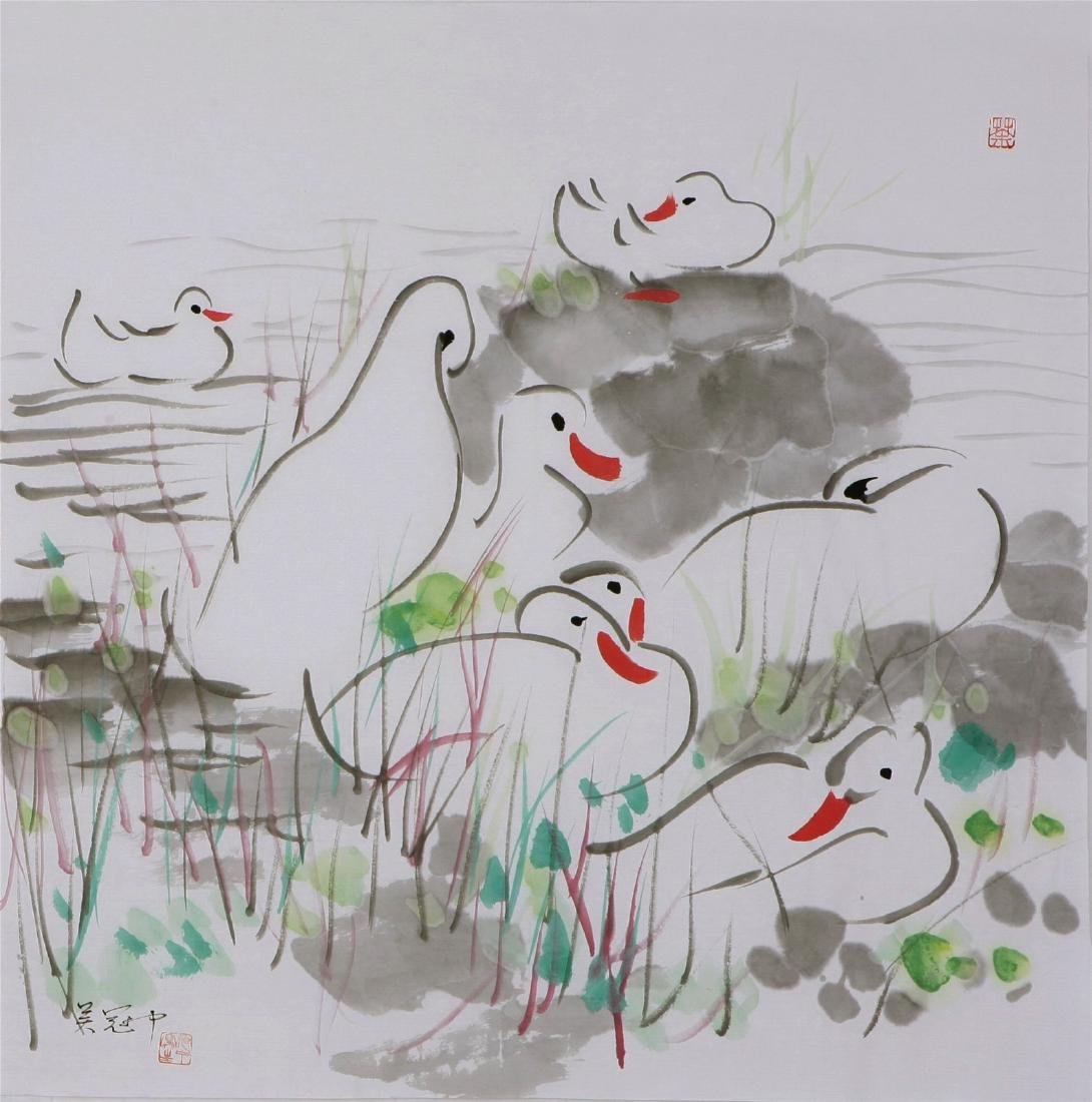 Chinese Painting of Duck, Signed Wu Guan Zhong