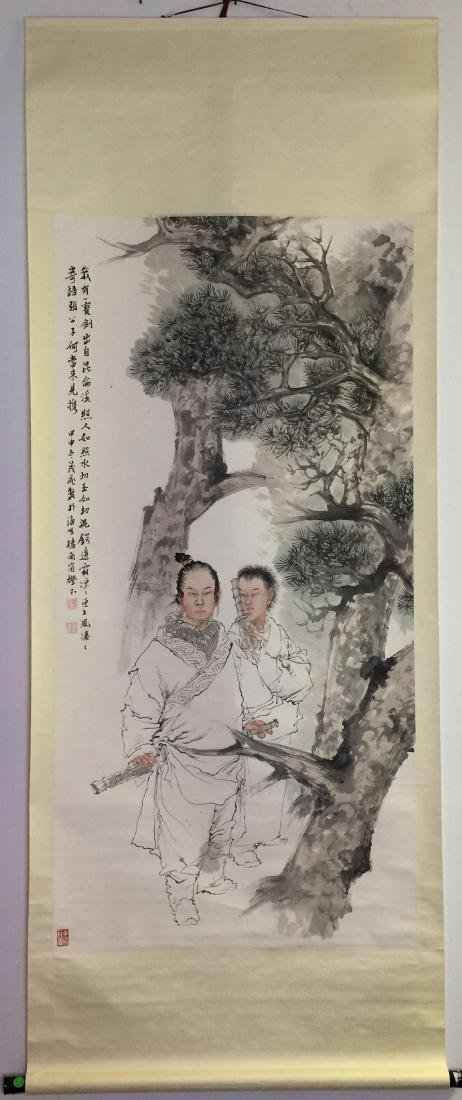 """Chinese Painting of Figure Signed by Wang Mao Fei 26"""" x"""