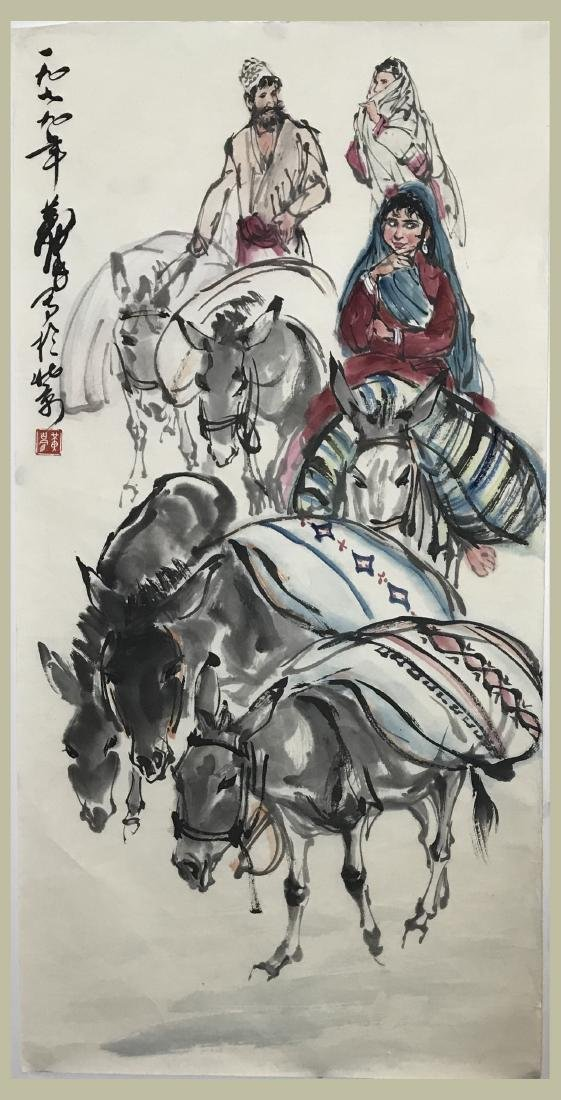 Chinese Painting of Donkey Signed Huang Zhou