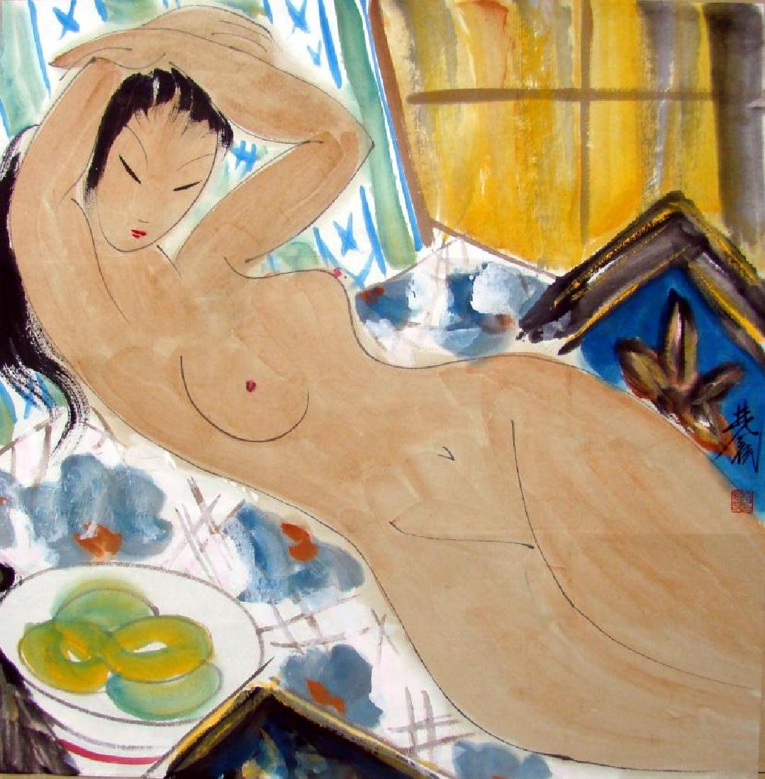 Chinese Painting of Nude Woman, Signed Lin Fengmian