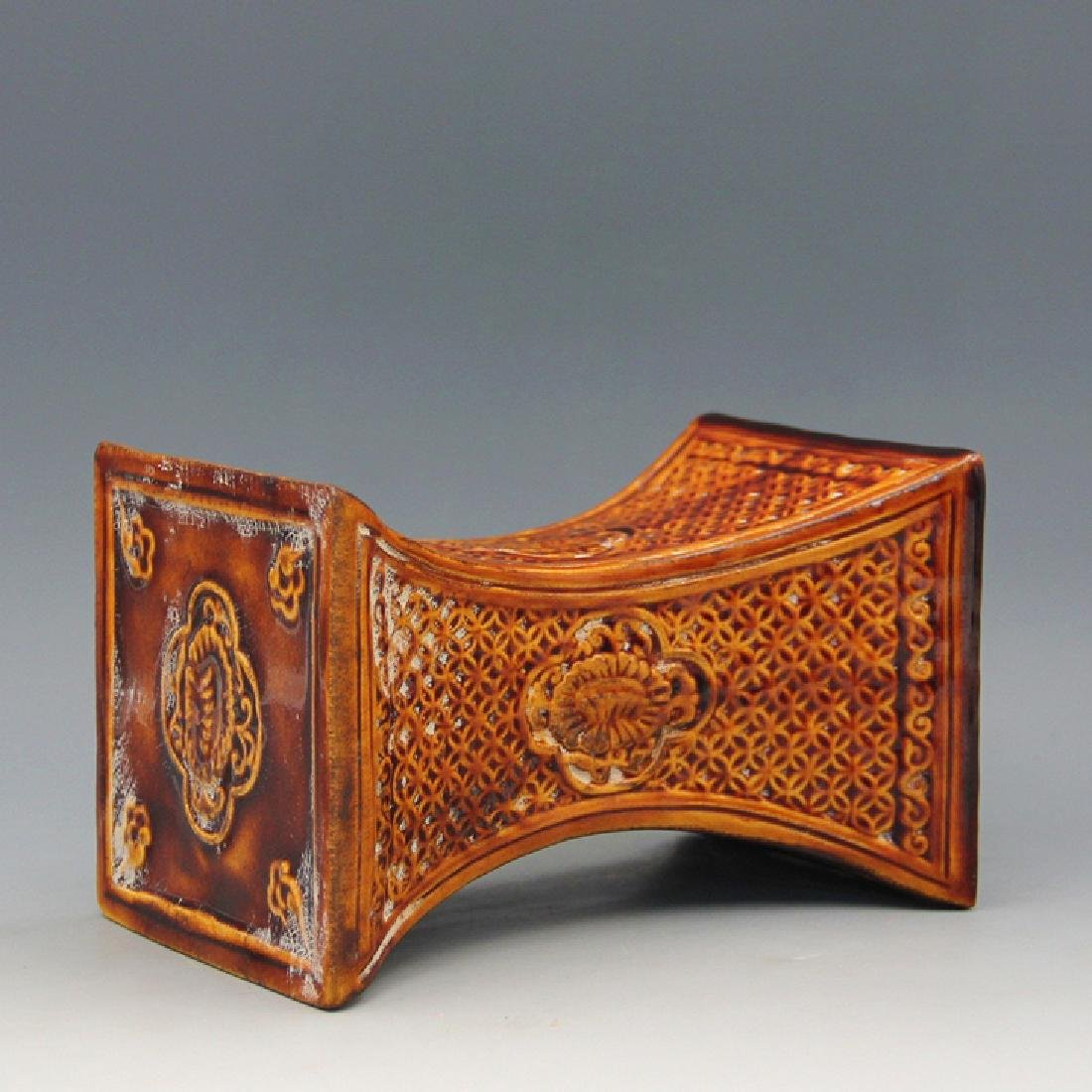 Chinese Tang San Cai Carved Pattern Porcelain Pillow