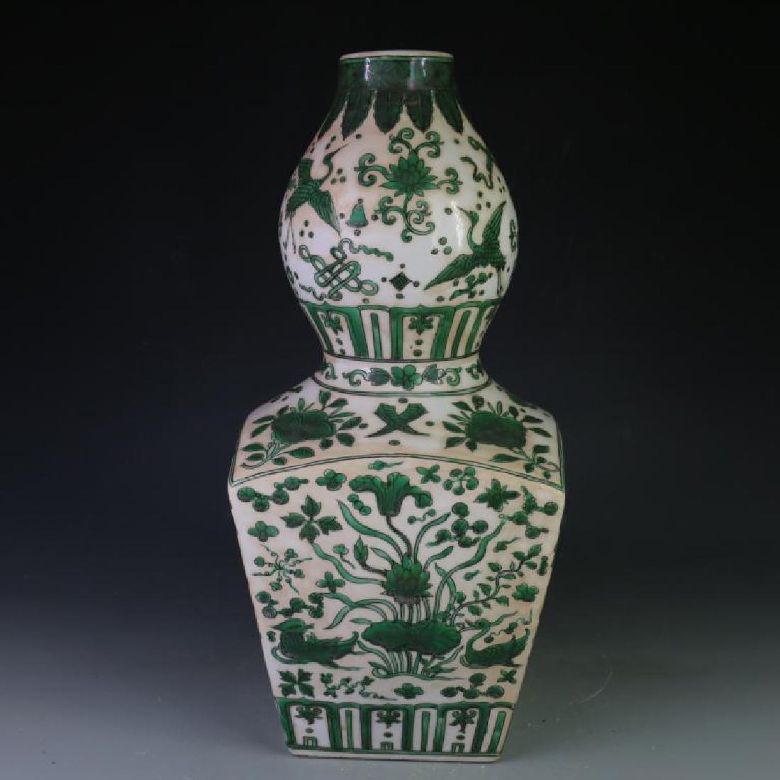 Chinese Ming Green Lotus square Gourd Vase