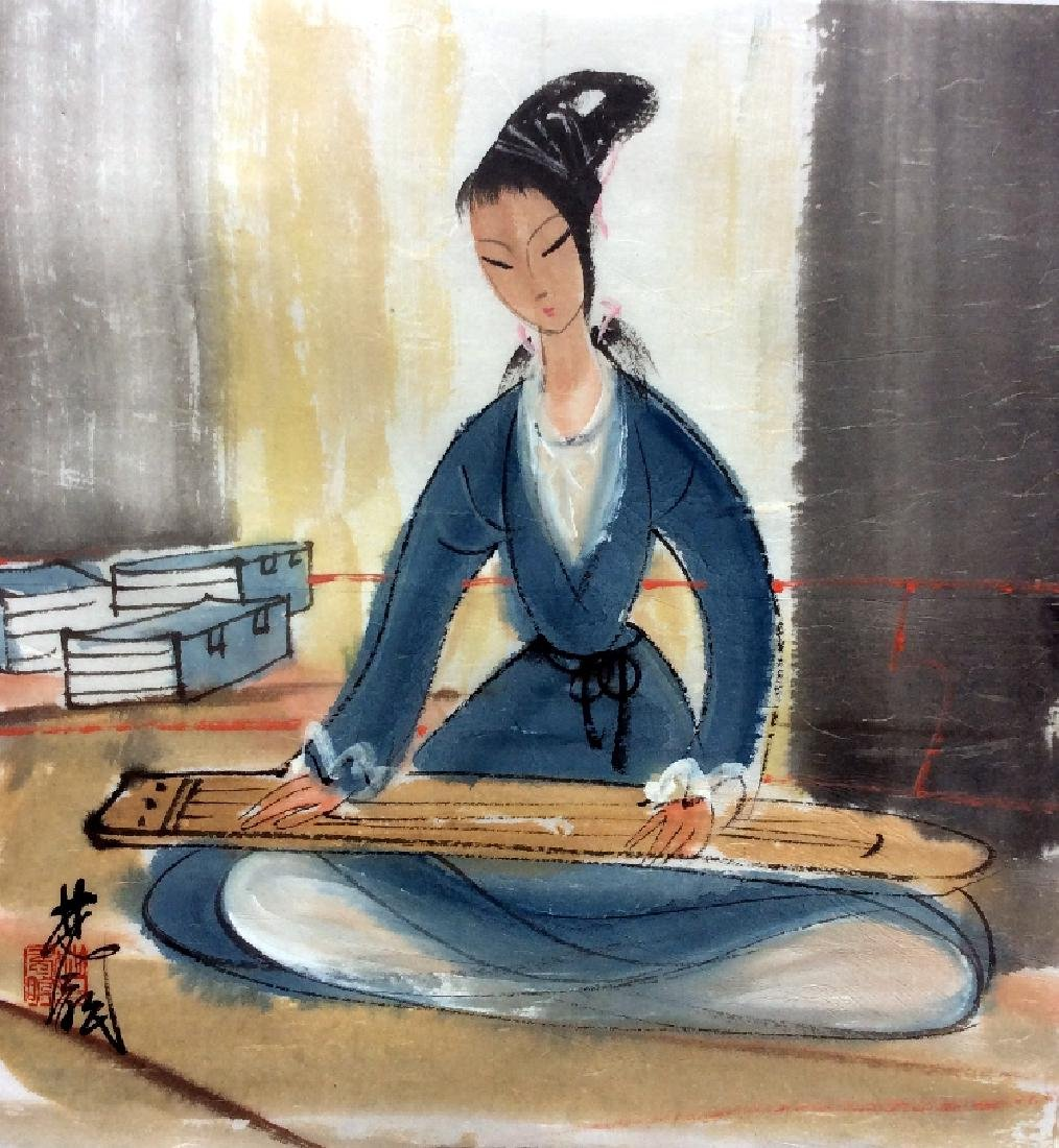 Chinese Painting of Lady Figure, Signed Lin Fengmian