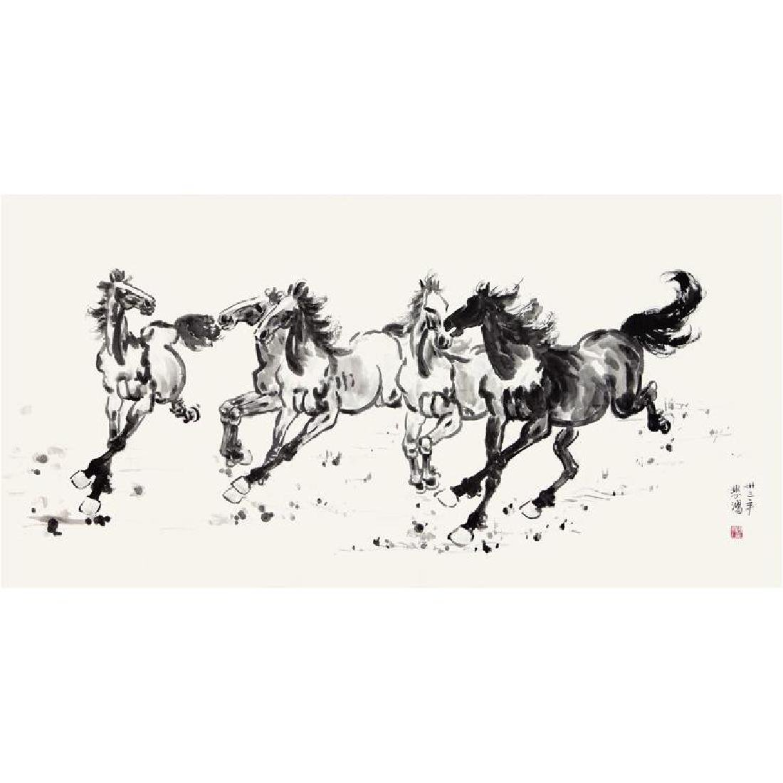 Chinese Painting of Horse, Signed Xu Bei Hong