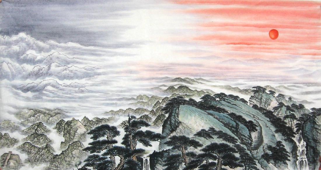 Chinese Painting of Landscape, Signed Fu Bao Shi