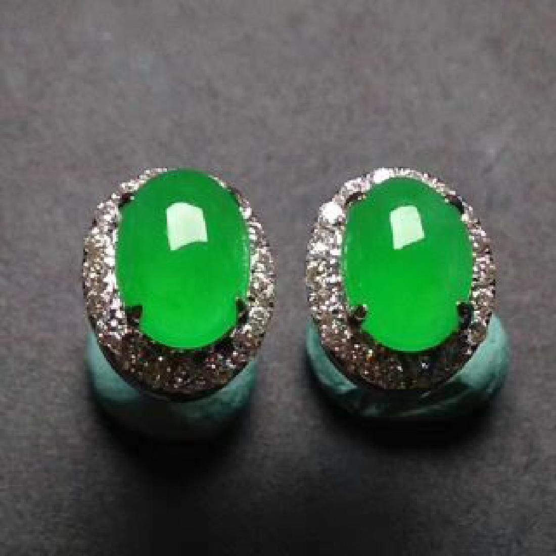 Chinese Jadeite 18K Gold Earrings