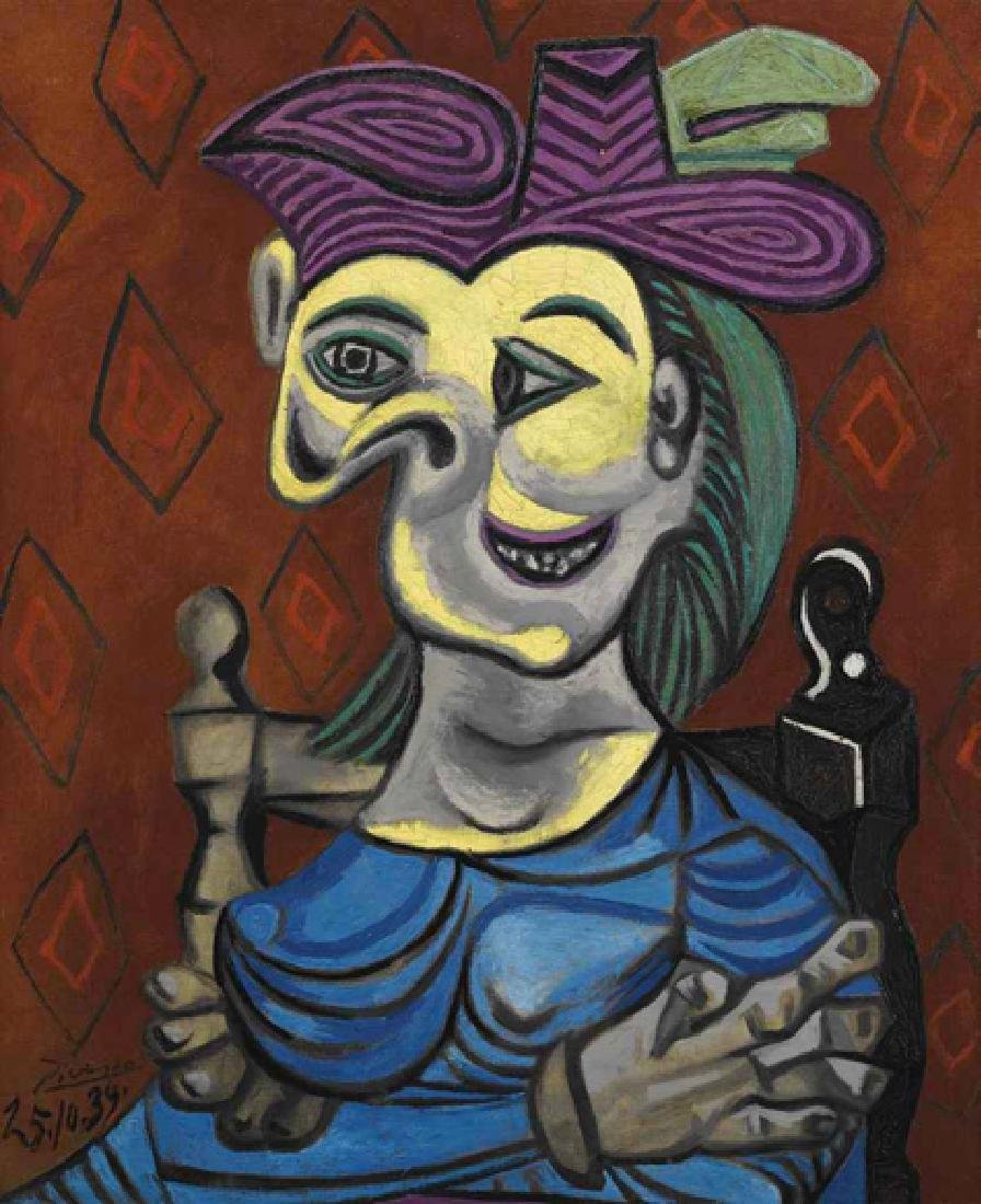 Oil Painting of Women in Blue Robe, Picasso