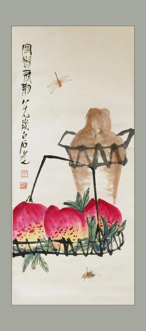 Chinese Ink and Color on Paper, Signed Bai Shi