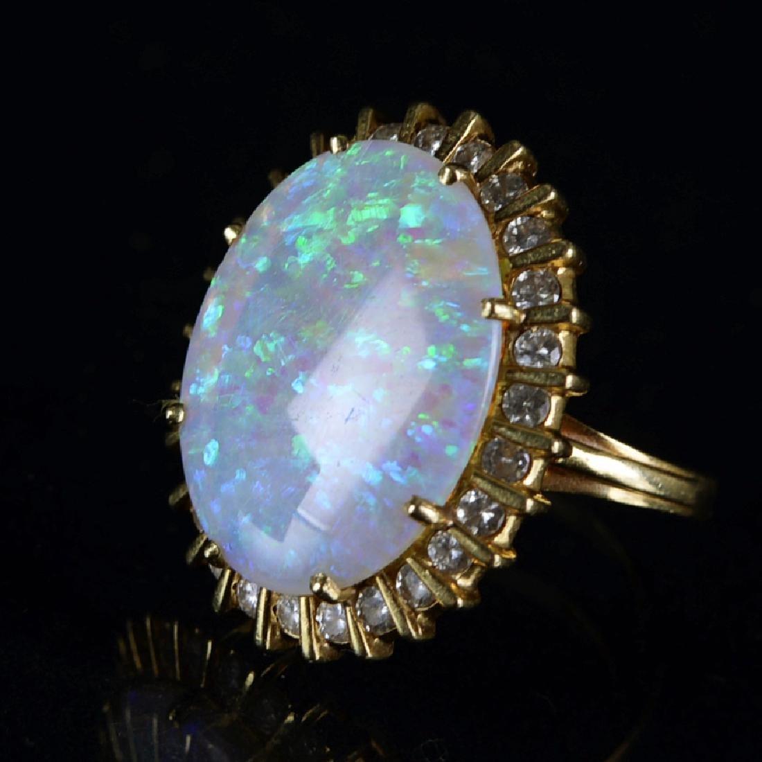 Opal 14K Gold 2 Points Diamond Ring