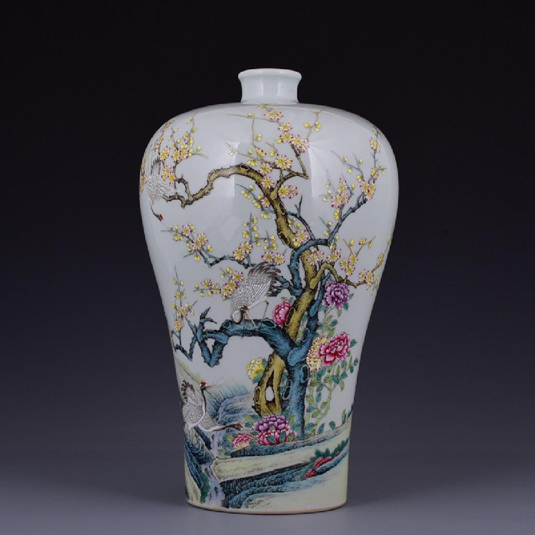 Chinese Famille Rose Mei Vase