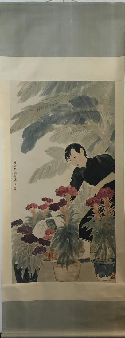 Chinese Painting of Lady Waters Flowers Signed Xu
