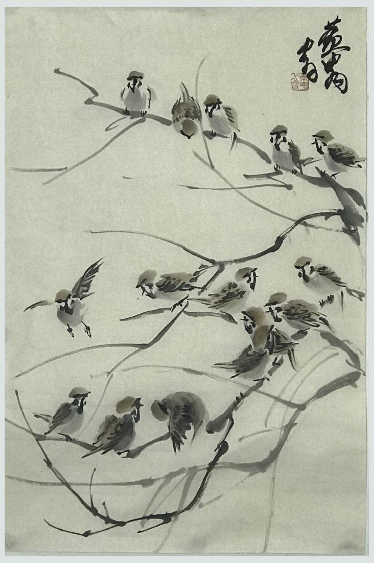 Chinese Painting of Sparrow Signed Huang Zhou
