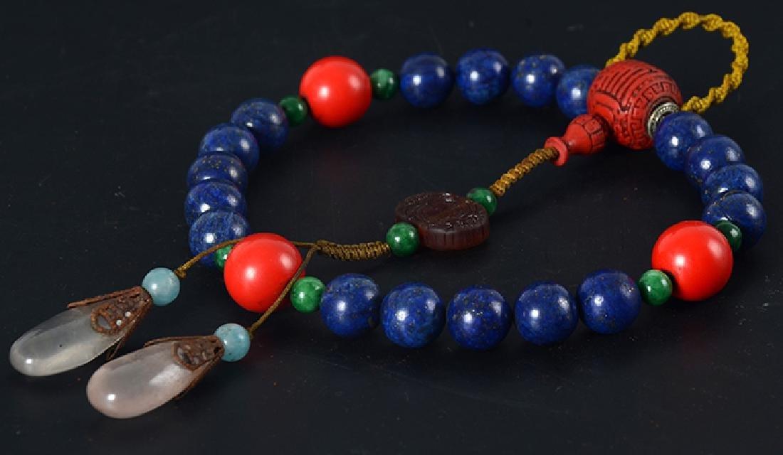 Chinese Lapis Beads Bracelet