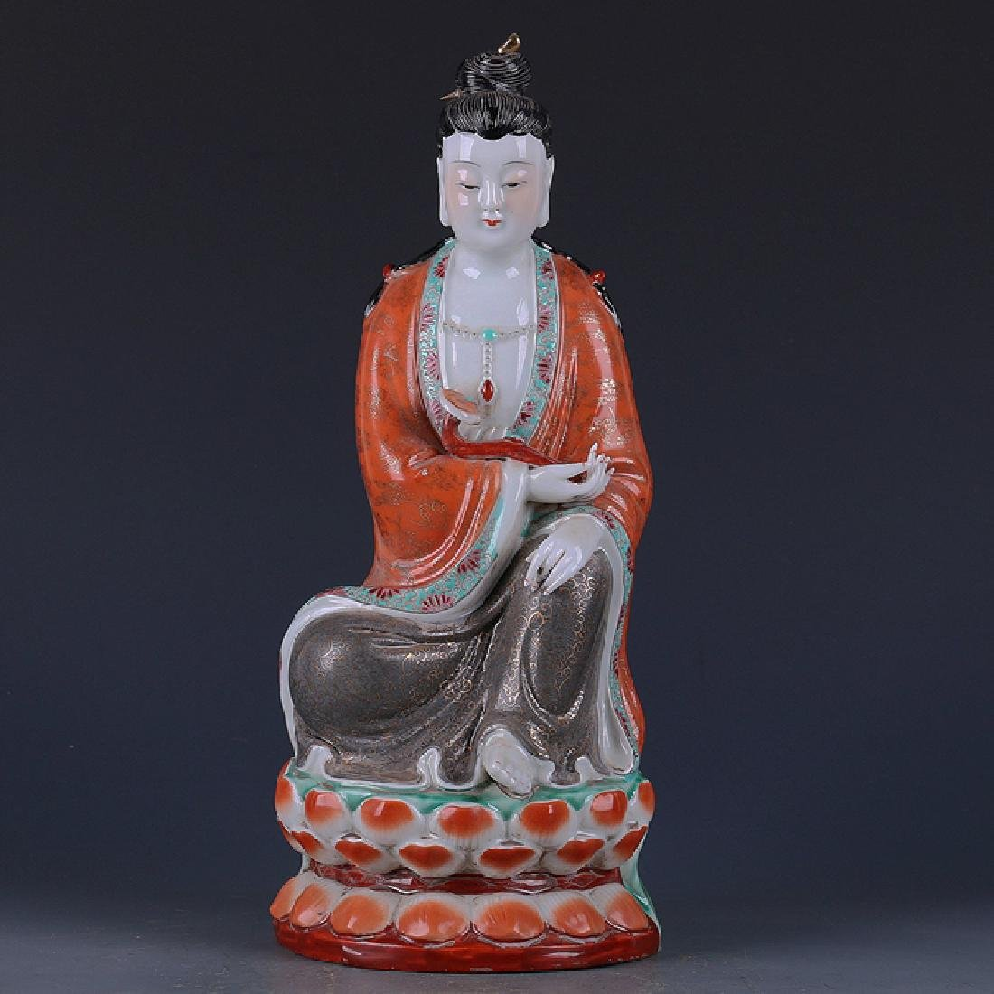 Chinese Famille Rose Gilt Guanyin
