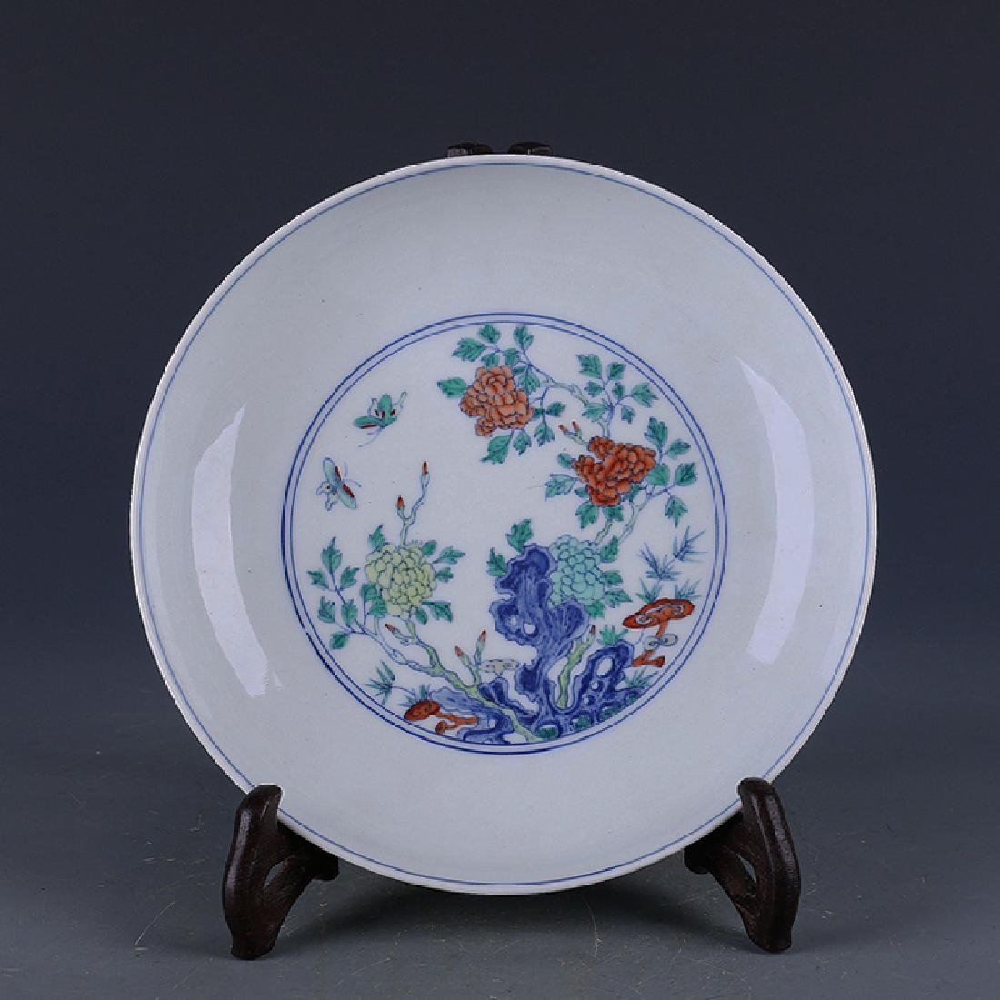 Chinese Dou Cai Floral Plate