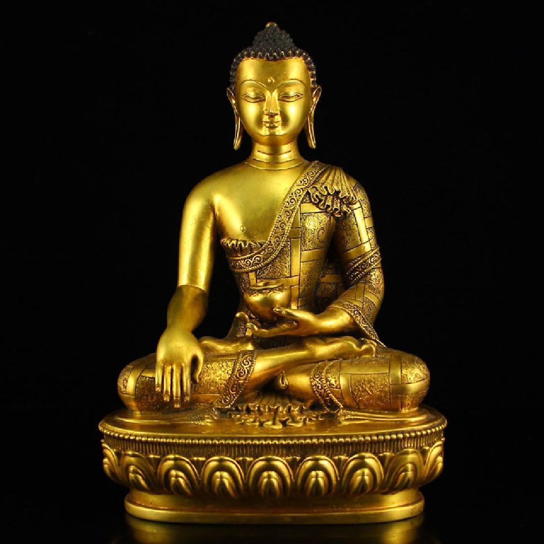 Chinese Tibetan Gilt Bronze Buddha