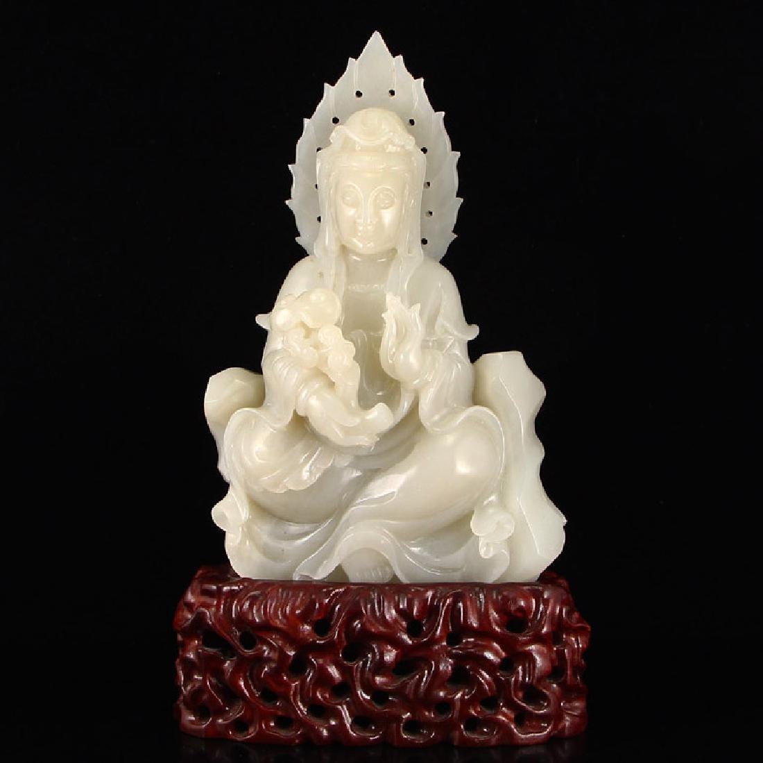 Chinese Hetian Jade Guanyin