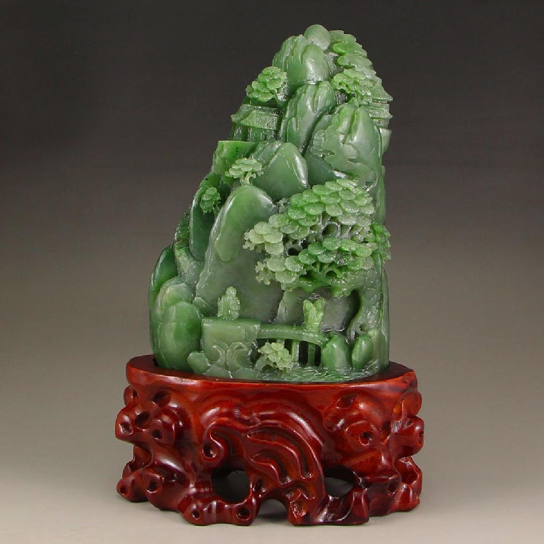 Chinese Green Hetian Carved Jade
