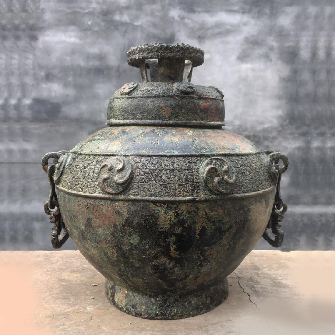 Chinese Western Han Dynasty Bronze Handled Vessel