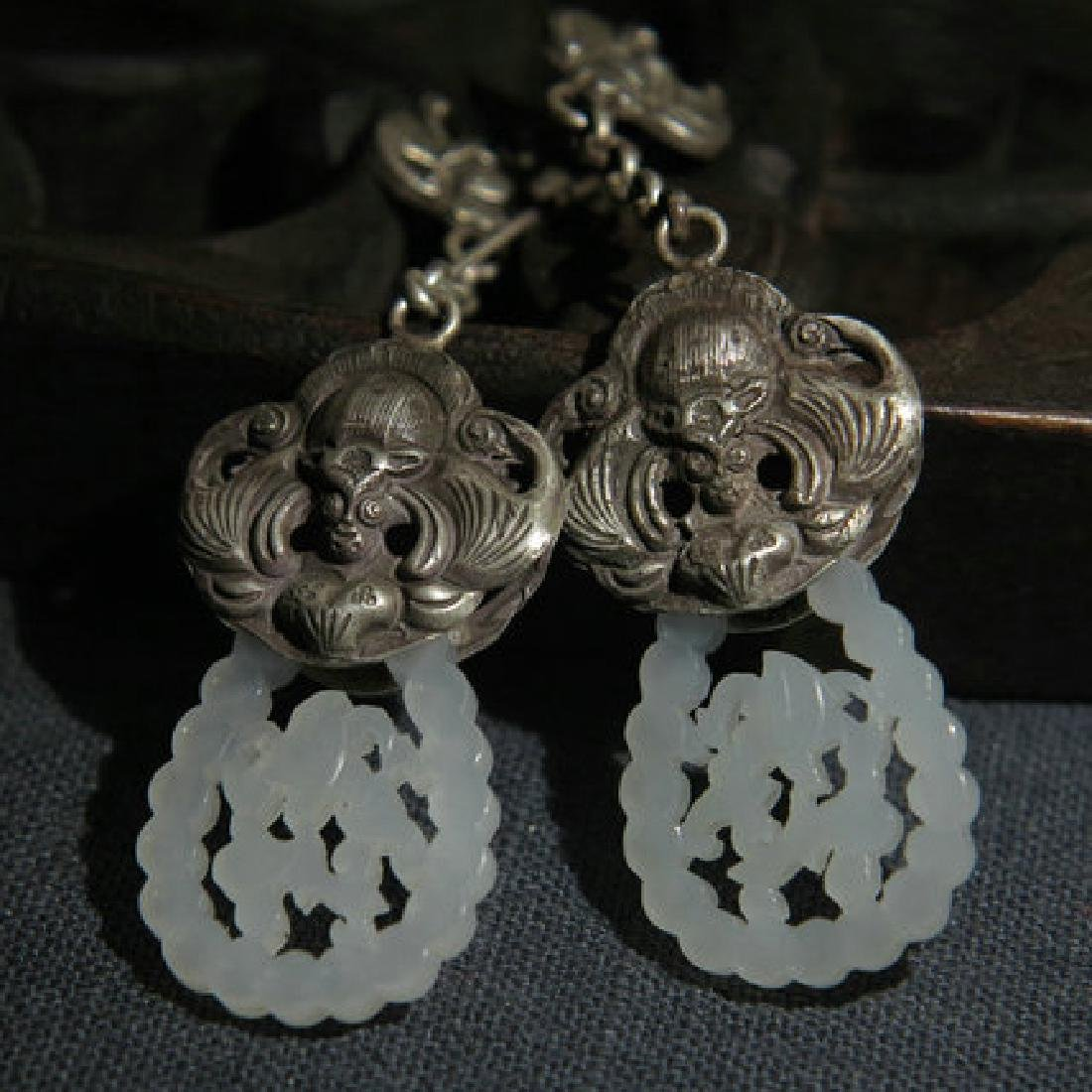Chinese Hetian Jade Silver Earrings