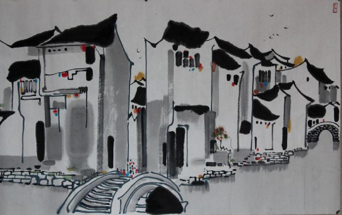 Chinese Painting of Watery Village, Signed Wu Guan - 2